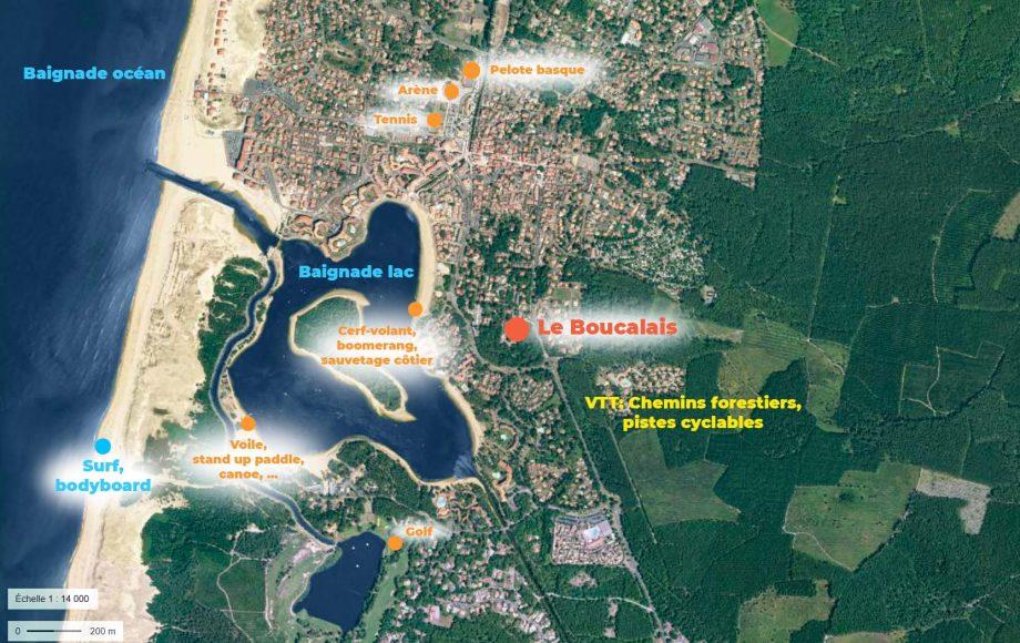 vue aérienne de vieux boucau, avec les emplacements du centre et des activités